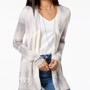 Tie-Dyed High-Low Cardigan